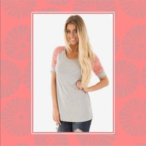 12PM Heather Grey Tee W/Coral Lace Sleeves (L)